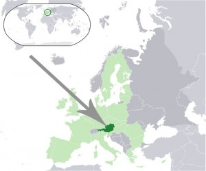 Where in the world is Austria? See the map. Dark green is Austria. Light green is EU.
